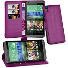 Cadorabo - Funda HTC DESIRE 820 Book Style de Cuero Sintético en Diseño Libro - Etui Case Cover Carcasa Caja Protección (con función de suporte y tarjetero) en VIOLETA-DE-MANGANESO
