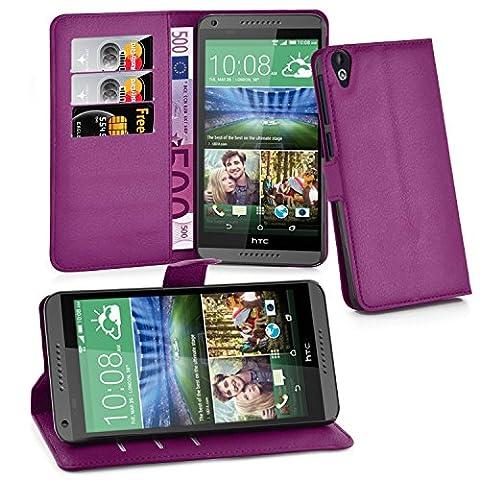 Cadorabo - Etui Housse pour > HTC DESIRE 820 < – Coque Case Cover Bumper Portefeuille (avec stand horizontale et fentes pour cartes) en ORCHIDÉE VIOLETS