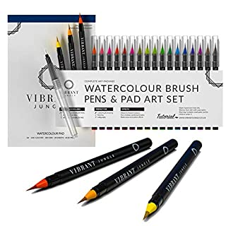 Watercolour Brush Pens -- Paper Set Paint Art Water Colouring + free e Books & Aqua Pen Perfect Art Supplies Accessories Colour for Painting Drawing Adult Kids Calligraphy Manga Stationery ,Vibrant Jungle