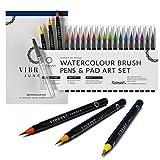 Aquarell Pinsel Stifte mit Aquarellpapier Block + Deutsch Tutorials, dazu 1 kostenloser nachfüllbarer Wasserpinsel – 20 brilliante Farben, das perfekte Künstlerset für alle Altersstufen
