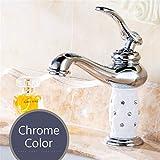 S-Senrohy Waschtischarmaturen Messing Mit Diamant Bad Wasserhahn Gold Mischbatterie Einhand Hot & Cold Waschbecken Wasserhahn Chrome