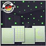 517 étoiles phosphorescentes plafond | Stickers fluorescents pour illuminer la chambre | 4 tailles et une lune incluses