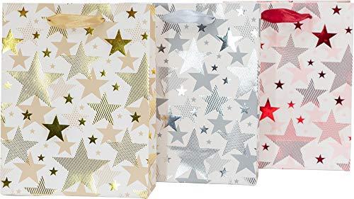 Premium Geschenktüten, 18 x 23 x 8 cm, 12 Stück | Metallic Geschenktaschen | Gold, Silber + Rot bedruckt | Tüten für Weihnachtsgeschenke