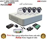 #7: Hikvision CCTV Security System With Turbo DS-7104HGHI-F1 Mini 4CH DVR + Hikvision DS-2CE16COT-IRP Bullet Camera 4Pcs + 1TB HDD + Active Cable + Active Power Supply