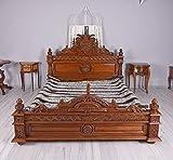 Ehebett Barock Bett Mahagoni Doppelbett 160x200cm Luxus Holzbett Palazzo Exklusiv