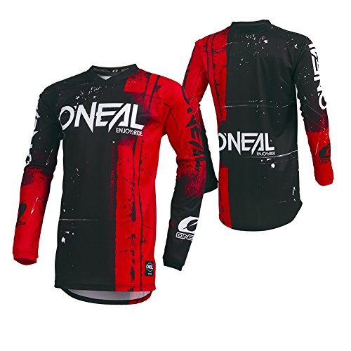 O'Neal Element Shred Kinder Motocross Jersey MTB Mountain Bike Fahrrad Enduro FR DH Trikot, 002E-Youth, Farbe Rot, Größe M -