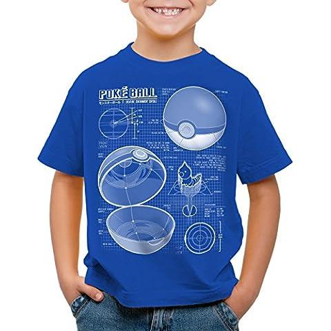 A.N.T. Poké Ball Cianotipo Camiseta para Niños T-Shirt monstruos videojuego