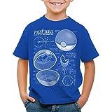 A.N.T. Poké Ball Cianotipo Camiseta para Niños T-Shirt Monstruos Videojuego, Color:Azul, Talla:104