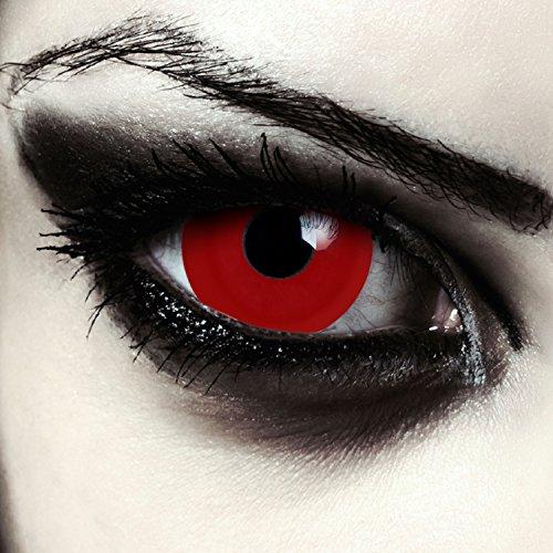 Rote Mini Sclera Kontaktlinsen 17mm blutige Halloween Farblinsen + Gratis Kontaktlinsenbehälter (Red Giant)