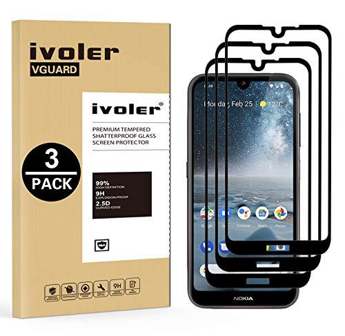 VGUARD [Pack de 3] Verre Trempé pour Nokia 4.2, [Couverture Complète] Film Protection en Verre trempé écran Protecteur Vitre pour Nokia 4.2 (Noir)