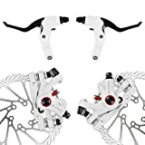 AFTERPARTZ NV-5 Fahrrad Scheibenbremse Umbausatz G3 160mm Scheiben V&H weiße Bremssättel mit Bremshebel Griff und Bremskabel