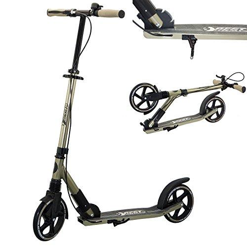 Sporting Scooter 205er Rolle High Class, City-Roller mit ergonomischem Lenker, Handbremse und Klingel, Tret-Roller in schwarz/Gold
