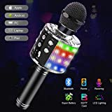 Tesoky Microphone sans Fil Bluetooth LED Lampe Coloré Dynamique,4 en 1 Portable karaoké Bluetooth Micro Enfant 2 Haut-Parleur Intégrépour aFête Familial et Compatible avec Android/iOS/PC/Pad(Nior)