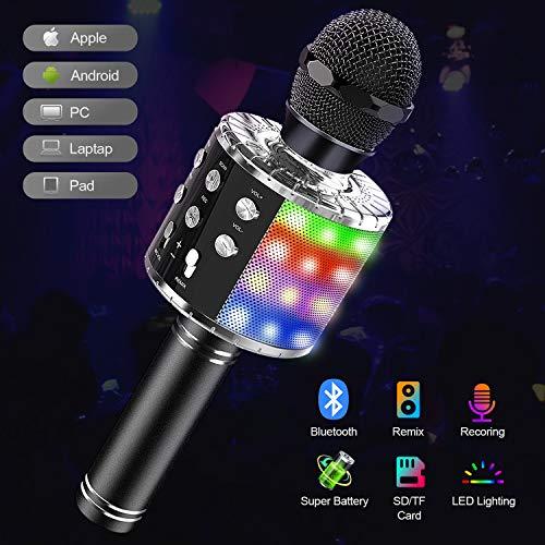 Karaoke Mikrofon Bluetooth mit Lichteffekte,Upgraded 4-in-1 Drahtloses Mikrofon für Kinder und Erwachsene zu Hause KTV/Party,Tragbares Handmikrofon mit Sprecher für Android/IOS/PC/laptop (Schwarz)
