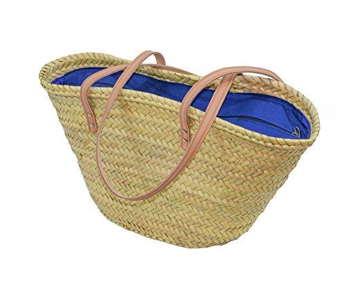 Cesteria Aparici–Borsa in foglie di palma, con manici a tracolla, Chiusura in tessuto disponibile in diversi colori 47x28x30 Tela Azul Marino Tela Azul marino