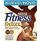 Fitness Cereales de Trigo, Maíz y Arroz Tostados con Cacao Rellenos de Crema con Chocolate - 350 gr