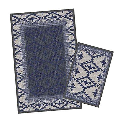 Korhani Outdoorteppich Set Cornwall 2-Teilig Gartenteppich 160x213/80x112 cm Blau/Beige 100% Polypropylen (UV-behandelt) Balkonteppich Terrassenteppich