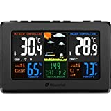 Wireless Weather Station, Houzetek Indoor Outdoor Color Forecast Station with Sensor, Home Alarm