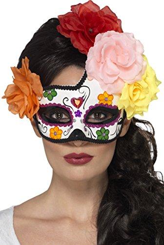 Smiffys 44959 Déguisement Femme Masque de Bal Masqué Croissant de Lune Jour des Morts, Multicolore, Taille Unique