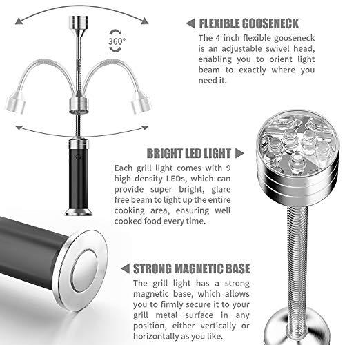 51ZjTshojFL - MojiDecor Grill Licht, Magnetische Grilllampe BBQ Licht Set Outdoor Grill Lichter BBQ Zubehör, Batteriebetrieben, 360 Grad Drehwinkel (2 Pack, Schwarz)