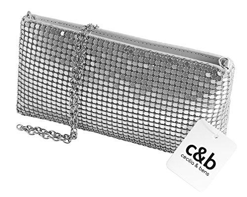 cecilia&bens Clutch silber | Abendtasche mit Pailletten | kleine Handtasche (Silber-abend Handtasche)