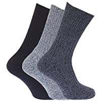 Mens Wool Blend Non Elastic Top Light Hold Socks (Pack of 3) (UK Shoe 6-11, EUR 39-45) (Shades of Blue)