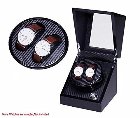 SSQCXO Watch Winders, 2 positions et 5 styles de couleurs Multi-Mode Control Mute Non Radiation Watch Automatic Winding box , Noir + fibre de carbone