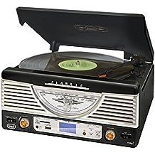 Trevi TT 1062E – Tocadiscos de diseño retro años 50 con entrada USB, ranura para tarjetas SD y mando a distancia – Color negro