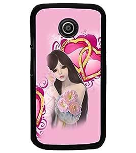 PrintDhaba Love Girl D-4131 Back Case Cover for MOTOROLA MOTO E (Multi-Coloured)