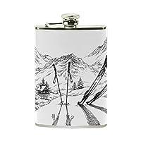 Bennigiry Ski Stainless Steel Hip Flask 8 oz for Birthday Wedding Anniversary Gift