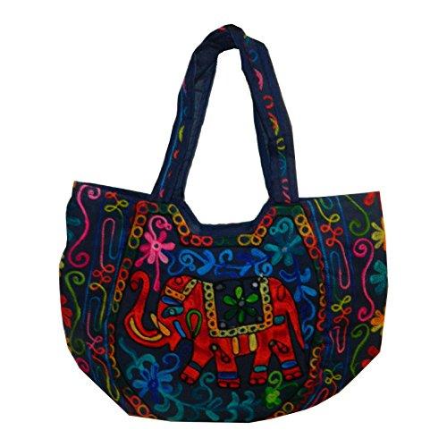 Bolso indio algodón azul oscuro elefantes bordado espejitos bolsa accesorio