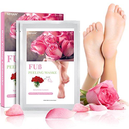 foot mask Fußmaske, Fuß Peeling Maske, Siman Baby Soft Füße Entfernen Hornhaut Hart Tote Haut für Samtweiche Füße, 2 Paar Rose Duft Peeling Socken, Weich An Glatten Meter Innerhalb Von 3-7 Tagen