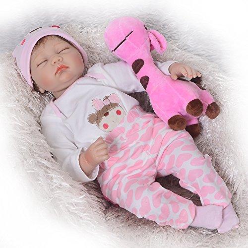 KEIUMI 22 Pulgadas de Silicona Suave Reborn Baby Dolls Sleeping Babies Realistic Girl Doll Simulación de Juguete Niños Regalo de Cumpleaños