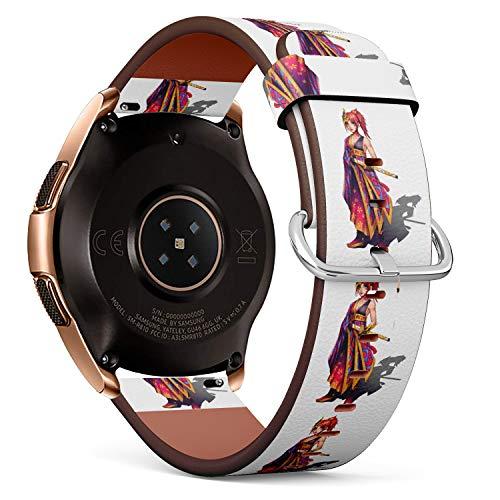 R-Rong kompatibel Watch Armband, Echtes Leder Uhrenarmband f¨¹r Samsung Galaxy Watch 42MM - Anime Japanese Samurai Girl