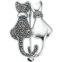 Mi-joya 925 de plata Marcasita gatos Broche