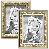 Set de 2 marcos en tono plata antigua de estilo nostálgico, marco para fotos de 10x15 cm con cristal / Marco de plástico