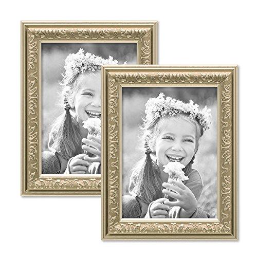 Photolini 2er Set Bilderrahmen Antik Silber Nostalgie 10x15 cm Fotorahmen mit Glasscheibe/Kunststoff-Rahmen (Jugend-rahmen)
