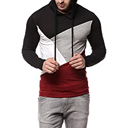 GRITSTONES Men's Cotton Hooded T-Shirt Black_Large