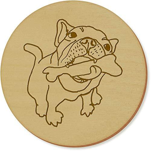 Azeeda 6 x 'Hund mit Einem Knochen' Runde Hölzerne Untersetzer (CR00126614) -