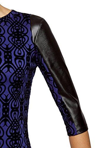oodji Ultra Damen Kleid mit Flock-Druck und Lederimitat-Besatz Blau (7529O)