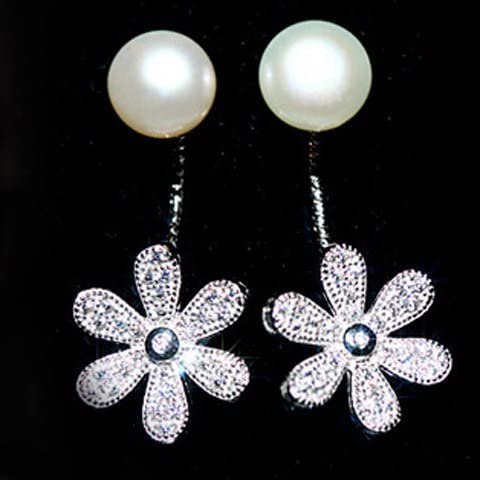 Elegante perla di Faux Rhinestone floreali orecchini, floreale orecchini per le donne, le ragazze