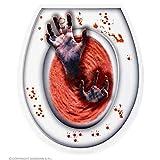 Lively Moments Toilettendeckel Dekoration blutige Hände in rotem Wasser / WC Aufkleber Halloween