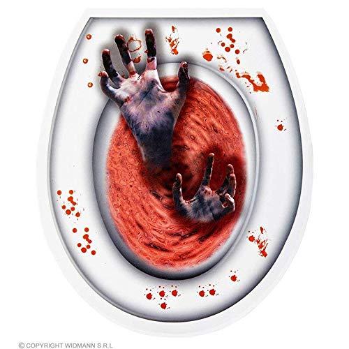 ttendeckel Dekoration blutige Hände in rotem Wasser / WC Aufkleber Halloween ()