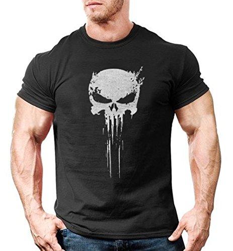 Mens teschio logo Punisher Maglietta S-XXXL Black Medium