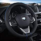ZJWZ Rivestimento del Volante in Pelle, Adatto per Auto/Camion/SUV/Van/Diametro Esterno 38CM-50CM Traspirante Antiscivolo Copertura Protettiva/Nero Blu,38CM