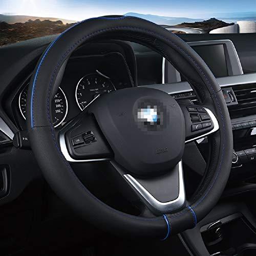 ZJWZ Housse De Volant Cuir, Approprié Voiture/Camion/SUV/Van/Diamètre Extérieur 38CM-50CM Couvercle De Protection Anti-Dérapant/Bleu Noir,38CM