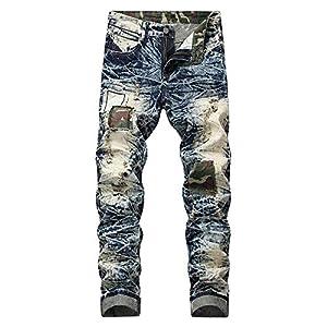 435805ce64a Hombre Pantalones Vaqueros Invierno otoño Rotos de Hombre de Denim Color  Puro Delgado Casual Diario con Bolsillos Casual para Hombre al Aire Libre