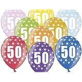 SiDeSo® - Set di 10 palloncini numero 50, 30,48 cm, multicolore/mix metallizzato, per festa di compleanno