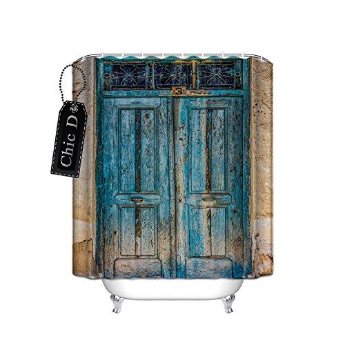 Rustikaler Country Barn Holz Tür Schimmelresistent Wasserdicht Stoff Dusche curtain-antique Thema, Polyester, blau, 36 x 72 (36 Dusche Tür)