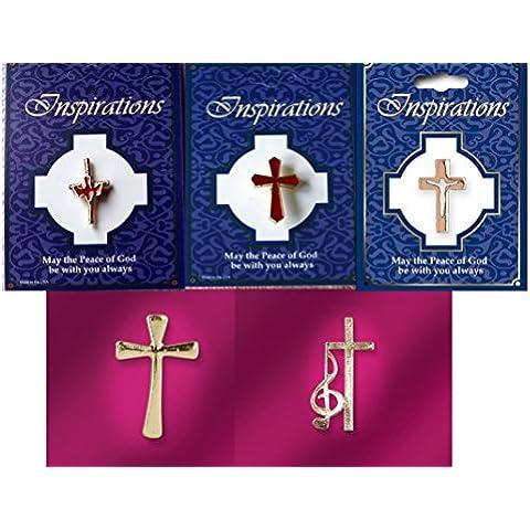 Christian pin de solapa insignias. Color Dorado Cruz, Set de 5diferentes cruces.
